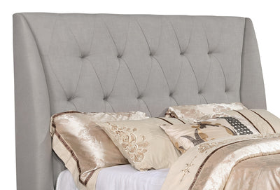 Berlin Queen Headboard - Traditional style Headboard in Taupe Pine and Fabric