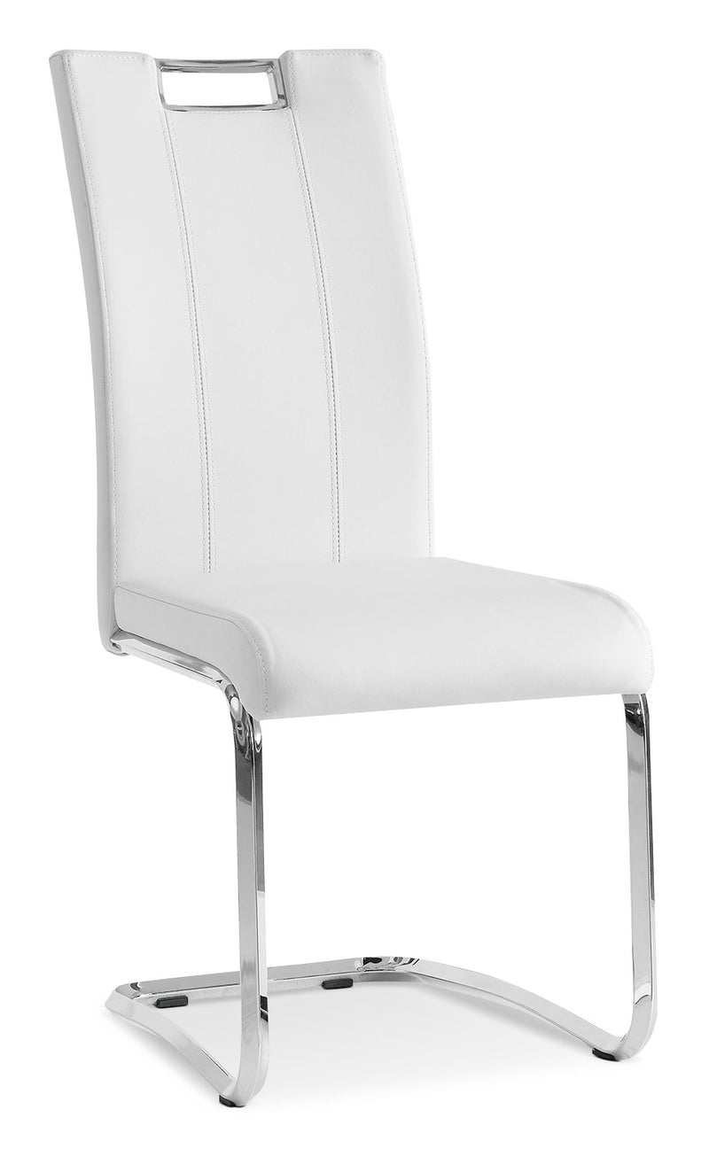 Tuxedo Side Chair - Modern style Dining Chair in White Steel and Faux Leather