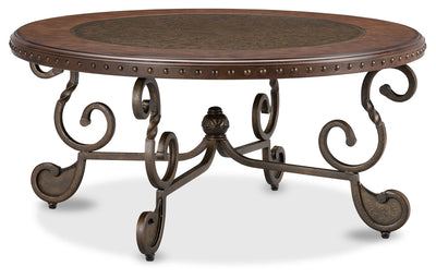 Cordoba Coffee Table – Dark Brown - Traditional style Coffee Table in Dark Brown Metal and Wood