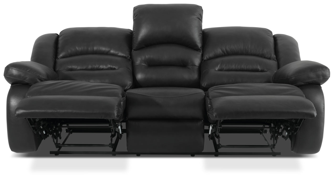 Toreno Genuine Leather Reclining Sofa – Black