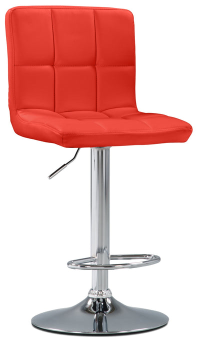 CorLiving High Back Adjustable Bar Stool - Red - Modern style Bar Stool in Red