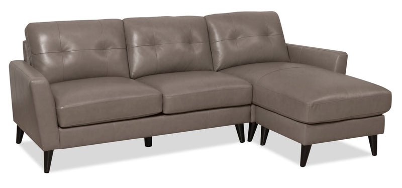 Anna 2-Piece Genuine Leather Reversible Sectional – Taupe|Sofa sectionnel de réversibles Anna 2 pièces en cuir véritable - taupe