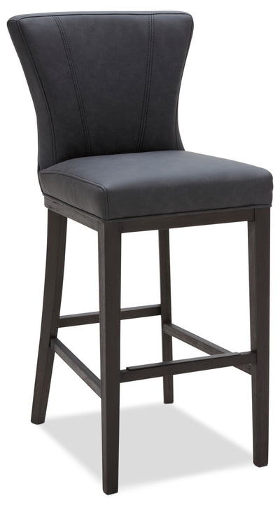 Quinn Bar Stool – Grey - Contemporary style Bar Stool in Grey Rubberwood and Bonded Leather
