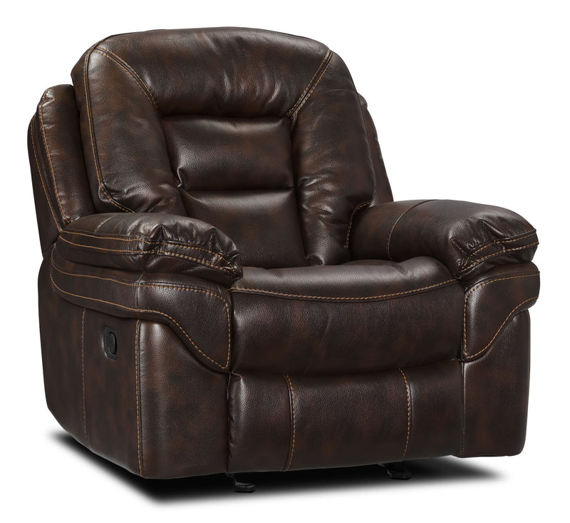 Leo Leathaire Recliner - Walnut|Fauteuil inclinable Leo - noyer