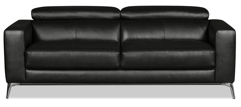 Tyra Genuine Leather Sofa – Black|Sofa Tyra en cuir véritable - noir