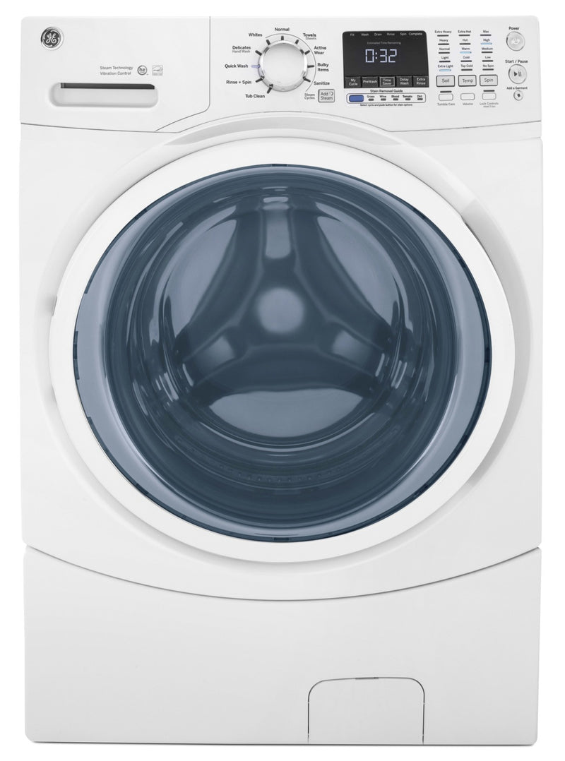 GE 5.2 Cu. Ft. Capacity Front-Load Washer with Stainless Steel Drum – GFW450SSMWW|Laveuse GE à chargement frontal de 5,2 pi³ avec tambour en acier inoxydable - GFW450SSMWW