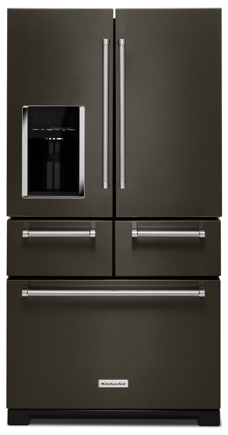 KitchenAid 25.8 Cu. Ft. Multi-Door Refrigerator – KRMF706EBS - Refrigerator with Exterior Water/Ice Dispenser, Ice Maker in Black Stainless Steel