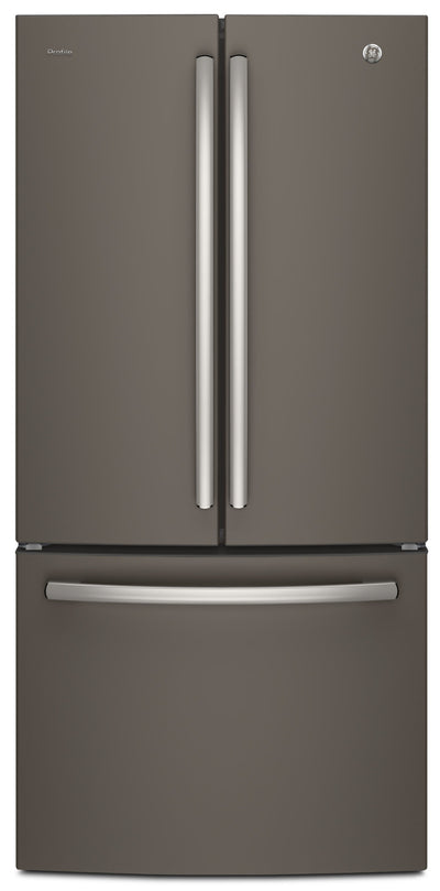 GE Profile 24.5 Cu. Ft. French-Door Refrigerator with Space-saving Icemaker – PNE25NMLKES - Refrigerator with Exterior Water/Ice Dispenser in Slate