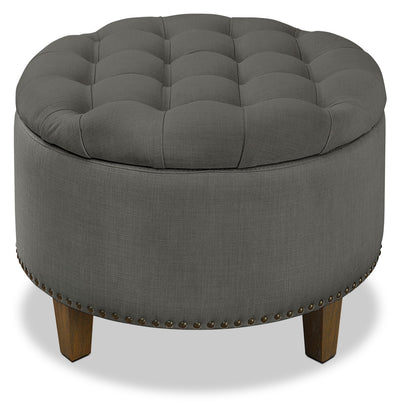 Georgia Storage Ottoman – Grey - Traditional style Ottoman in Grey Birch and Polyester Fabrics