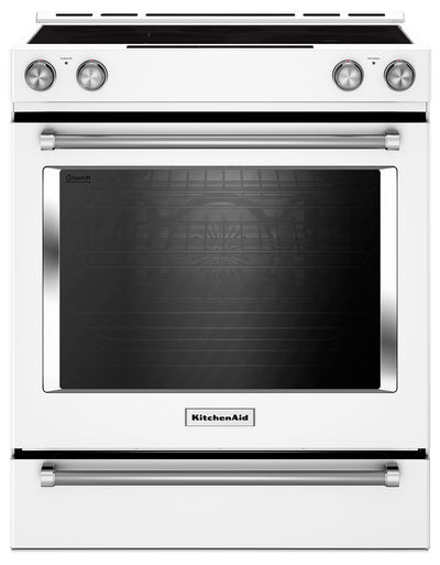 KitchenAid 7.1 Cu. Ft. Slide-In Convection Range with Baking Drawer - White - Electric Range in White