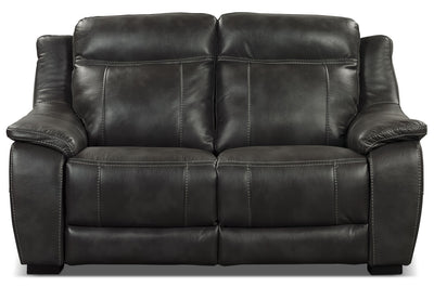 Novo Leather-Look Fabric Loveseat – Grey - Modern style Loveseat in Grey