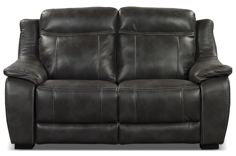 Novo Leather-Look Fabric Loveseat – Grey|Causeuse Novo en tissu d'apparence cuir - grise|NOVOGYLV