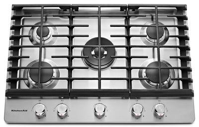 "KitchenAid 30"" 5- Burner Gas Cooktop – KCGS550ESS - Gas Cooktop in Stainless Steel"