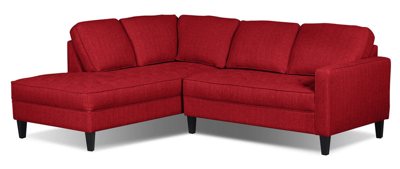 Paris 2-Piece Linen-Look Fabric Left-Facing Sectional – Cherry - Modern style Sectional in Cherry