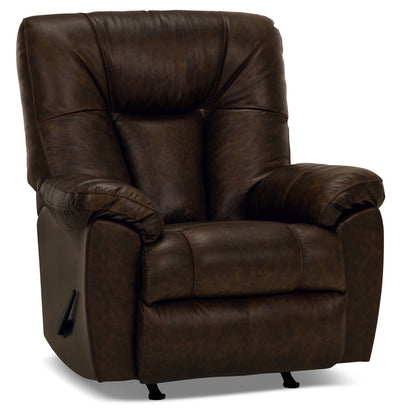 Designed2B 4703 Genuine Leather Rocker Recliner - Ranger Tobacco|Fauteuil berçant inclinable 4703 Design à mon image en cuir véritable – tabac Ranger|4703RRRT