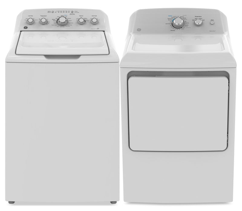 GE 4.9 Cu. Ft. Top-Load Washer and 7.2 Cu. Ft. Electric Dryer|Laveuse à chargement par le haut de 4,9 pi³ et sécheuse électrique de 7,2 pi³ de GE