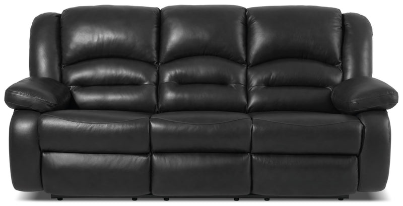 Toreno Genuine Leather Reclining Sofa – Black|Sofa inclinable Toreno en cuir véritable - noir