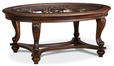 Valencia Coffee Table - Traditional style Coffee Table in Dark Brown Glass and Wood