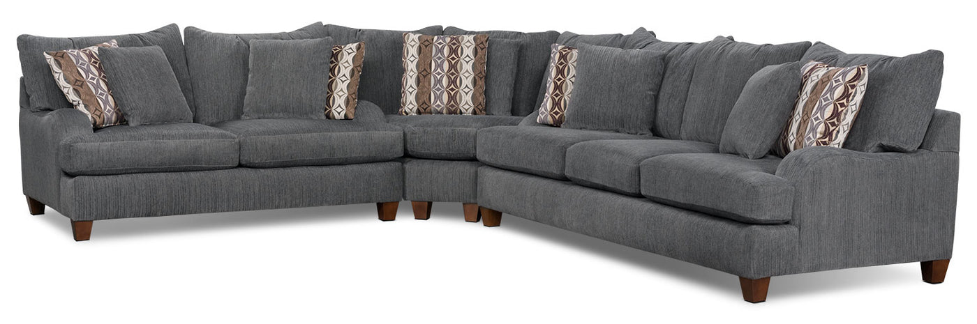 Putty Chenille 3 Piece Sectional Grey The Brick