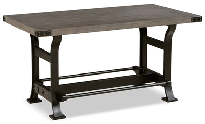 Ironworks Counter-Height Dining Table - Industrial style Dining Table in Grey Rubberwood Solids and Metal