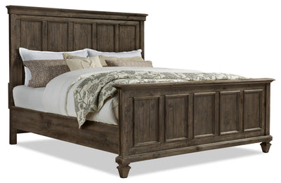Calistoga King Bed - Weathered Charcoal - Rustic style Bed in Charcoal Pine Solids