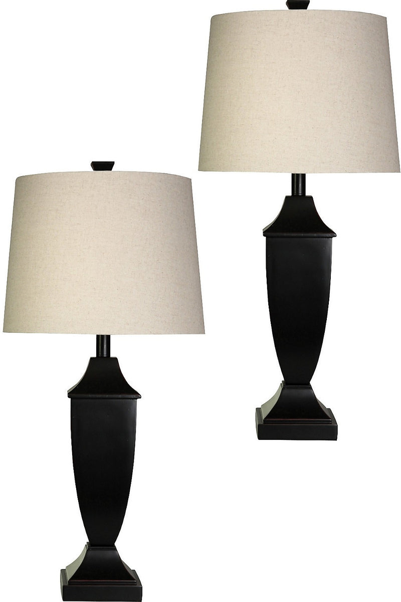 Bronze Finish 2-Piece Table Lamp Set with Linen Shade|Ensemble 2 lampes de table au fini bronze avec abat-jour en lin