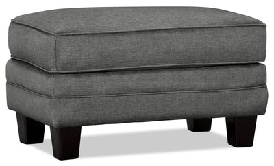 Tula Fabric Ottoman – Steel - Traditional style Ottoman in Steel