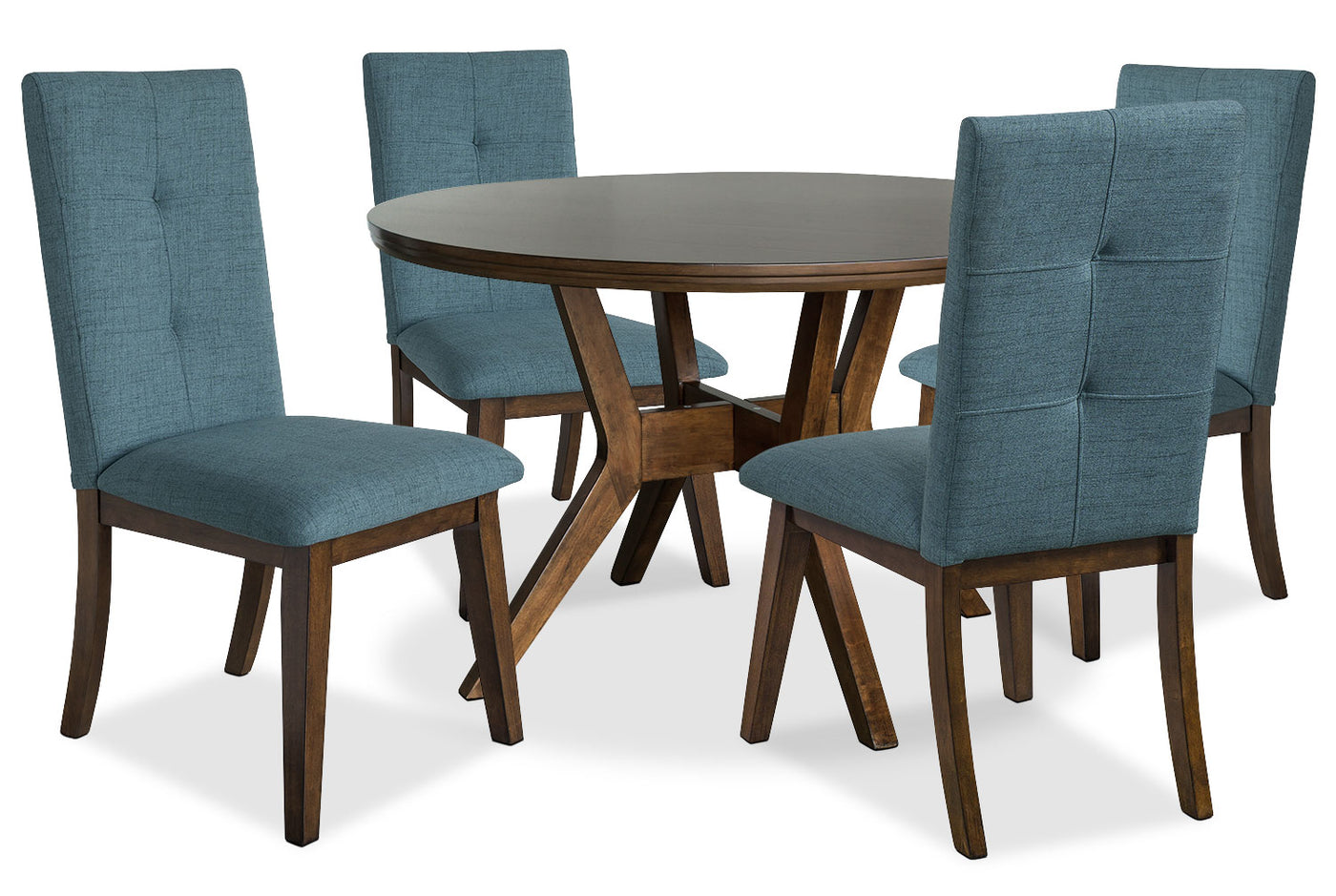 Chelsea 5 Piece Round Dining Table Package With Aqua Chairs The Brick