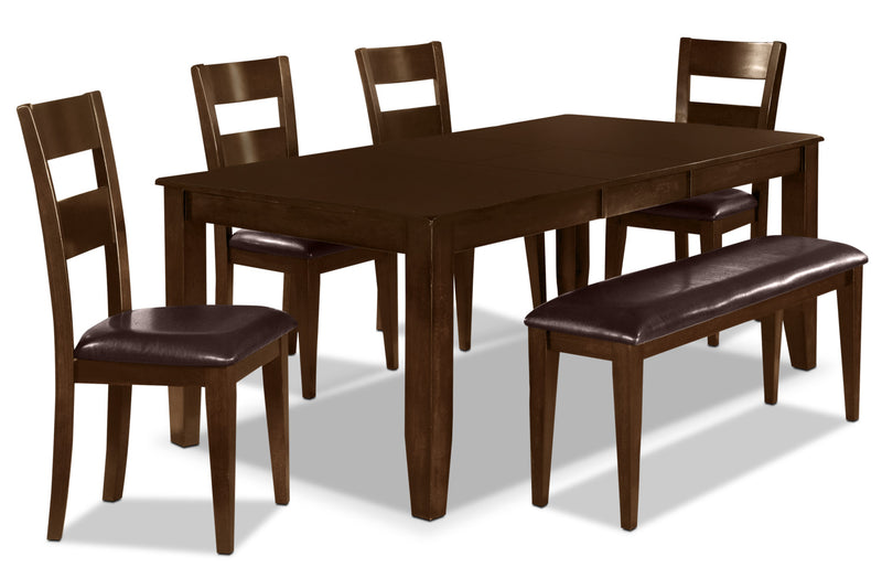 Dakota 6 Piece Casual Dining Package - Contemporary style Dining Room Set in Dark Cherry