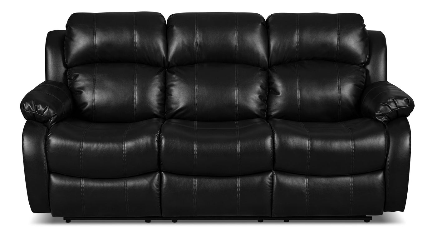 Omega Leather-Look Fabric Reclining Sofa – Black
