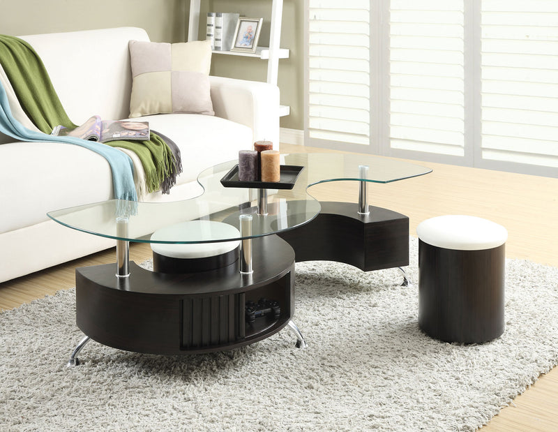 Seradala Coffee Table With Two Ottomans The Brick