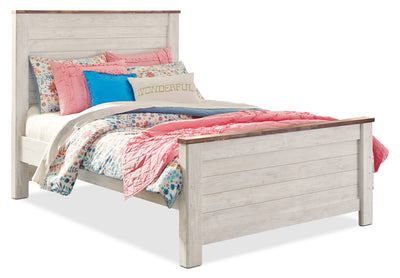 Willowton Full Bed - Country style Bed in White Engineered Wood and Laminate Veneers