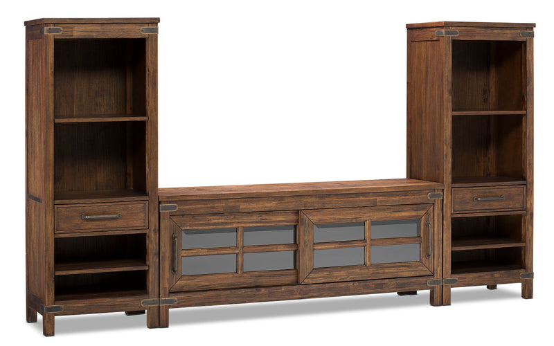 "Huntley 3-Piece Entertainment Centre with 64"" TV Opening - Rustic style Wall Unit in Dark Brown Wood"