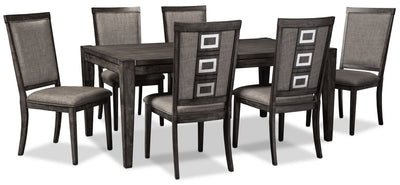 Chadoni 7-Piece Dining Package - Glam style Dining Room Set in Grey Brown Hardwood Solids and Veneers