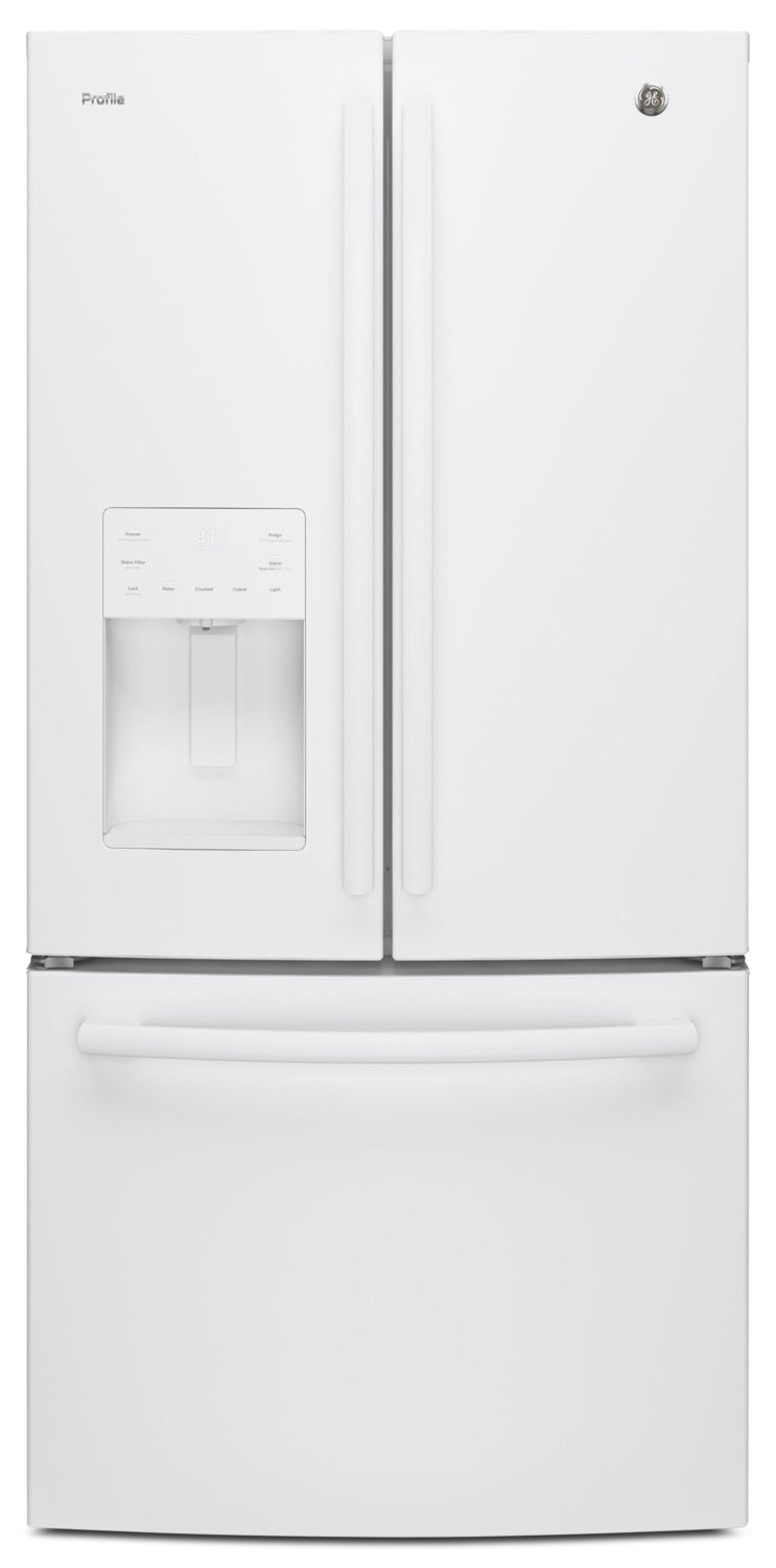 GE 23.8 Cu. Ft. French-Door Refrigerator with Space-Saving Icemaker – PFE24HGLKWW - Refrigerator with Exterior Water/Ice Dispenser, Ice Maker in White