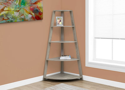 Ana Corner Bookcase – Dark Taupe - Contemporary style Bookcase in Taupe Wood