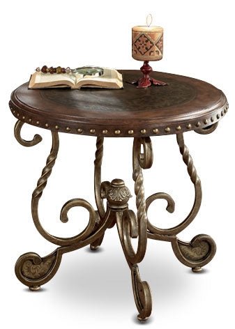 Cordoba End Table – Dark Brown - Traditional style End Table in Dark Brown Metal and Wood