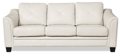 Andi Leather-Look Fabric Sofa – Beige - Glam style Sofa in Beige