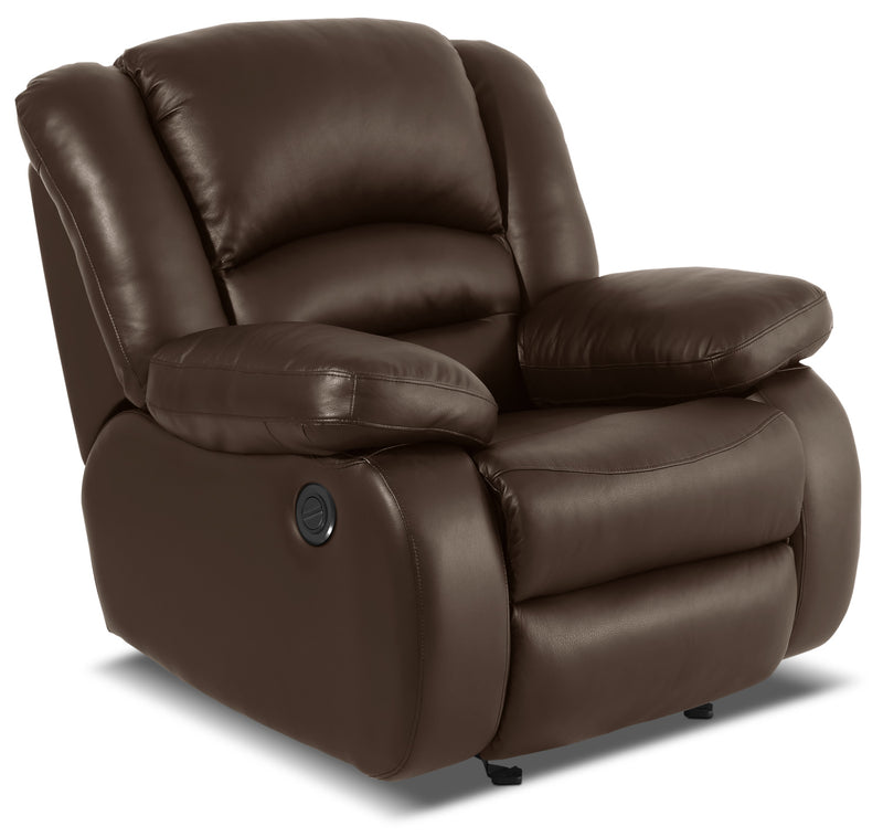 Toreno Genuine Leather Power Reclining Chair – Brown|Fauteuil à inclinaison électrique Toreno en cuir véritable - brun