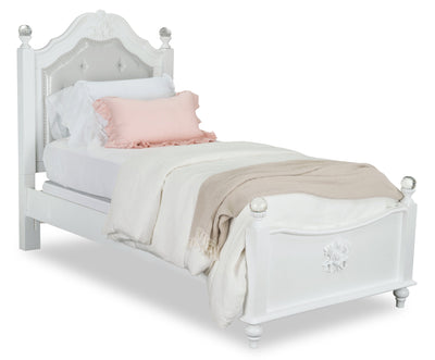 Livy Twin Bed - Traditional, Glam style Bed in White Pine