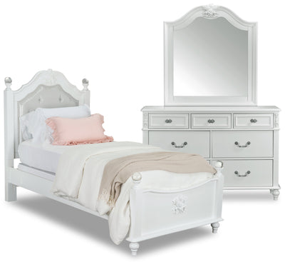 Livy 5-Piece Twin Bedroom Package - Traditional, Glam style Bedroom Package in White Pine