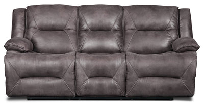 Lancer Faux Suede Fabric Power Reclining Sofa – Grey|Sofa à inclinaison électrique Lancer en suédine – gris - Open-Box