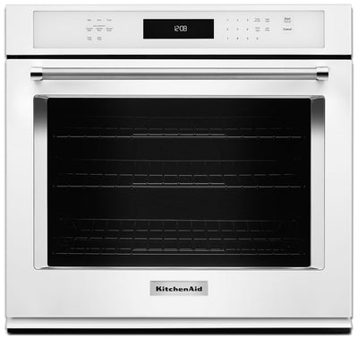 KitchenAid 5.0 Cu. Ft. Single Wall Oven with Even-Heat™ True Convection - White - Electric Wall Oven in White