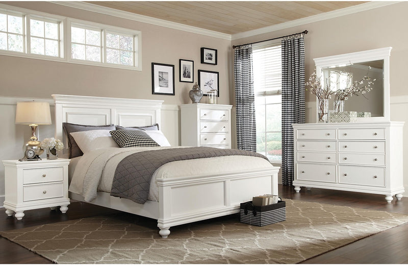 Bridgeport 6-Piece Queen Bedroom Set – White|Ensemble de chambre à coucher Bridgeport 6 pièces avec grand lit - blanc