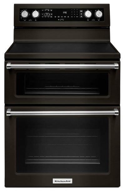 "KitchenAid 30"" Electric Double Oven Convection Range – YKFED500EBS - Gas Range in Black Stainless Steel"