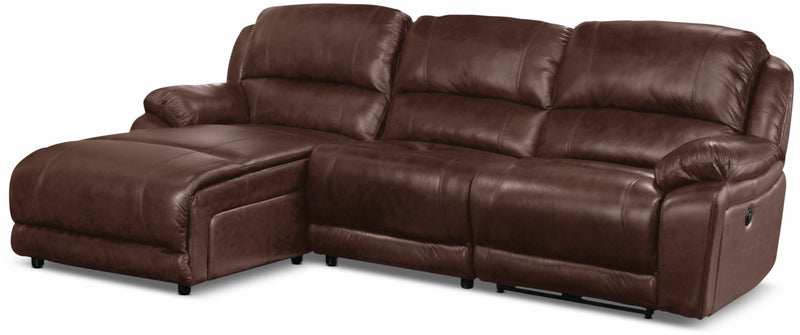 Marco Genuine Leather 3-Piece Sectional with Left-Facing Inclining Chaise– Chocolate|Sofa sectionnel Marco 3 pièces en cuir véritable avec fauteuil long inclinable de gauche - chocolat