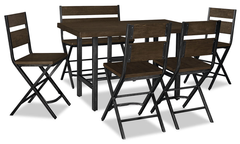 Kavara 6-Piece Counter-Height Dining Package - Industrial style Dining Room Set in Medium Brown Pine Solids and Metal