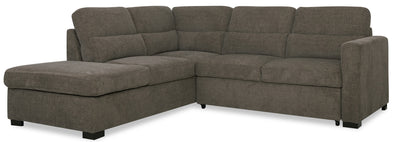 Lola 2-Piece Chenille Left-Facing Sleeper Sectional - Brown|Sofa-lit sectionnel de gauche Lola 2 pièces en chenille - brun|LOLABNSL