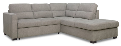 Lola 2-Piece Chenille Right-Facing Sleeper Sectional - Grey|Sofa-lit sectionnel de droite Lola 2 pièces en chenille - gris|LOLAGYSR