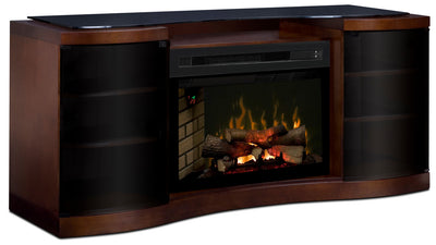 "Grandview 73"" TV Stand with Log Firebox - Modern style TV Stand with Fireplace in Walnut Medium Density Fiberboard"